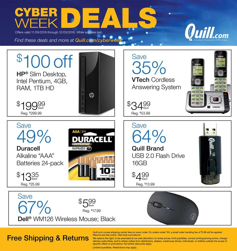 cyber monday quill, quill cyber monday, cyber monday sale, deals, offers, discounts, ad release, quill ad release