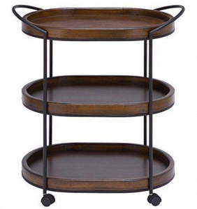 Deco 79 50469 Black Metal & Natural Pine Wood 3-Tier Rolling Bar Cart Black Friday Deals