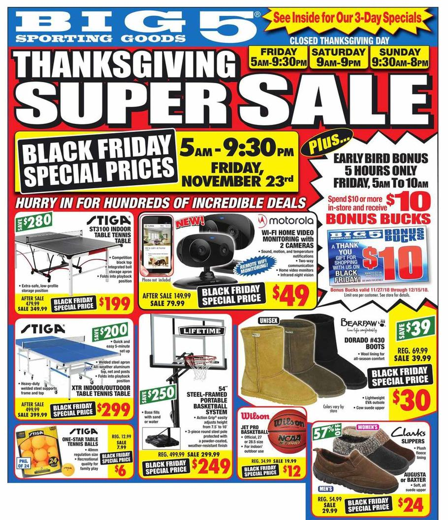 Big 5 Sporting Goods Black Friday Ad Scan 2018