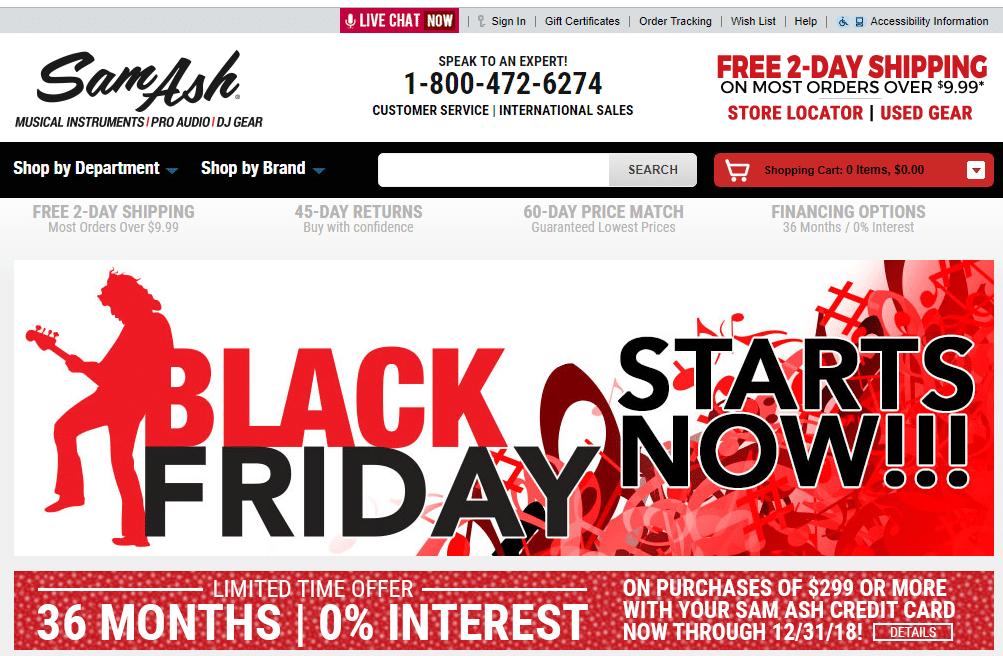 Sam Ash Black Friday Deals 2018