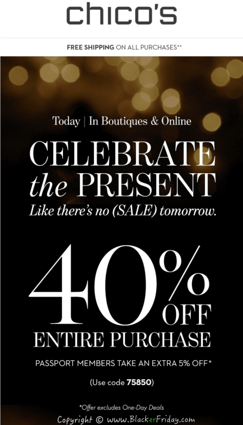 Previous Year Chicos Black Friday Sale, Ad Scan