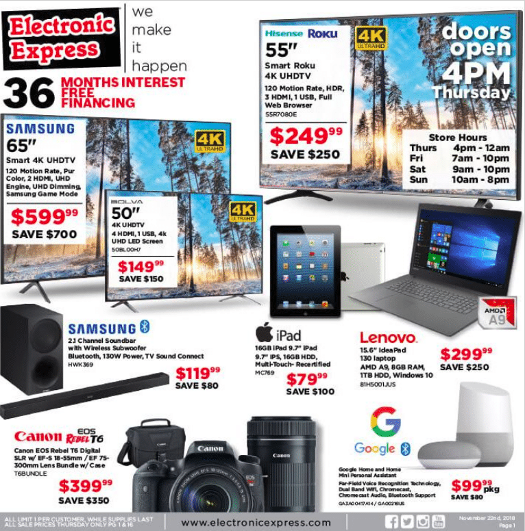 Electronic Express Black friday sales 2019