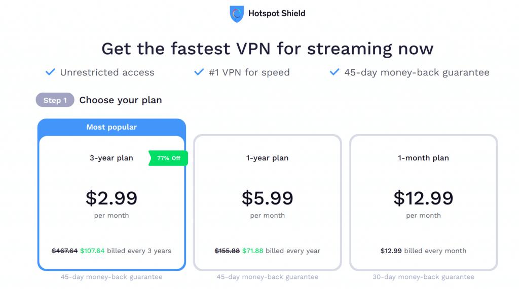 Hotspot Shield VPN Plans & Prices