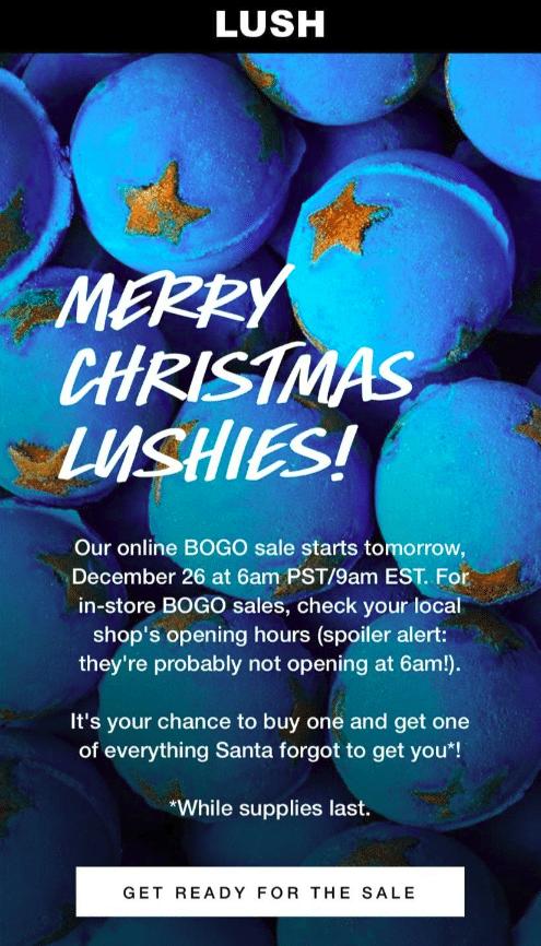 Lush After christmas Sale 2019