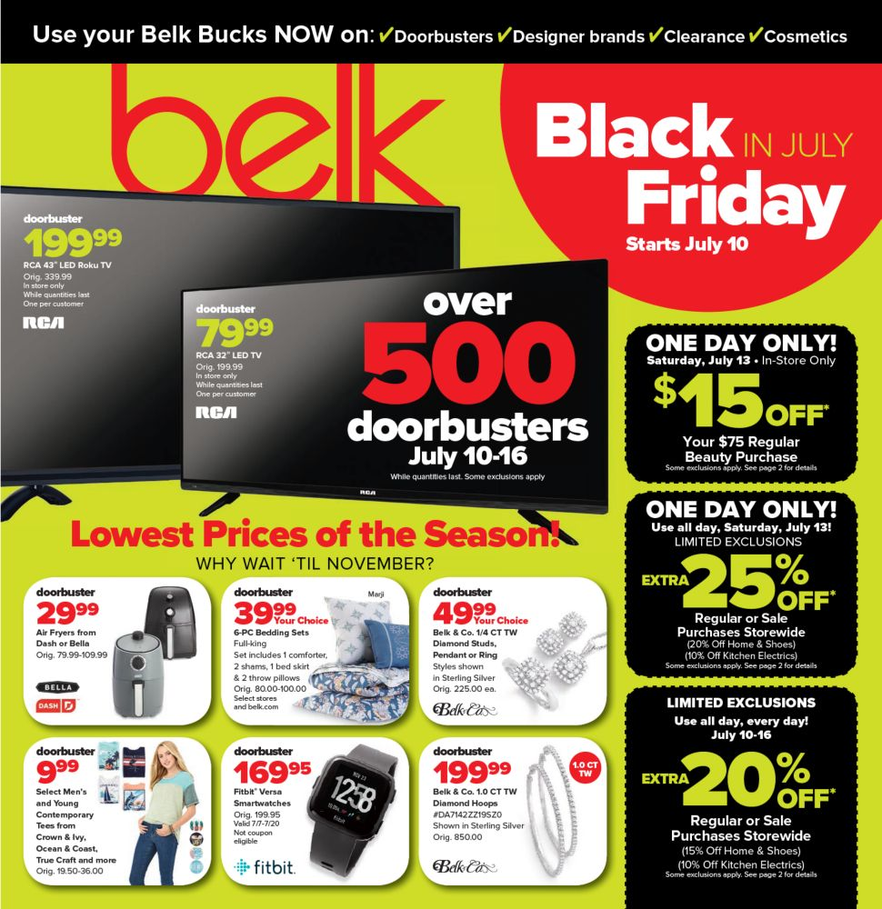 Belk Black Friday in July 2019 Deals