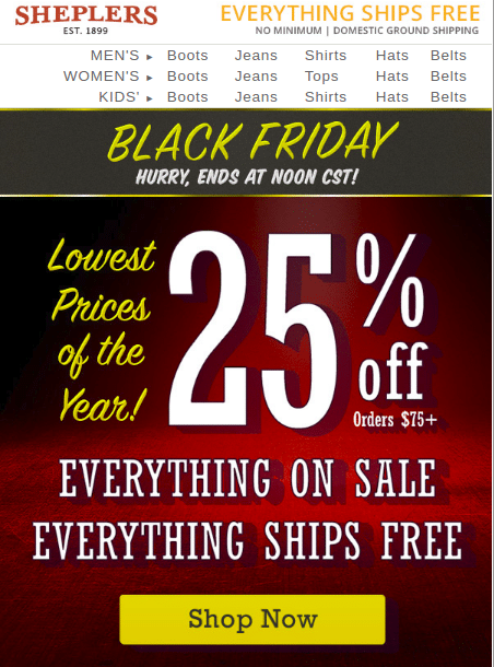 2522bdd09d4 Sheplers Black Friday 2019 Sale & offers on Cowboy boots, hats & more