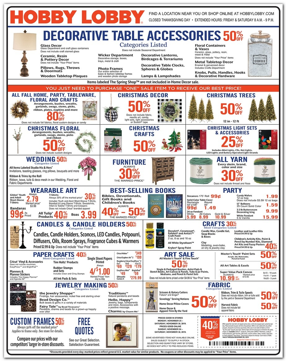 Hobby Lobby Black Friday 2019 Ad Scan