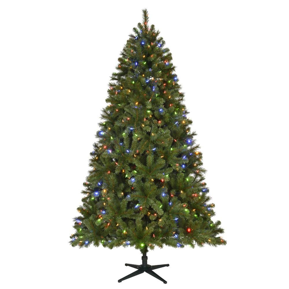7.5 ft. Pre-Lit LED Wesley Spruce Artificial Christmas Tree