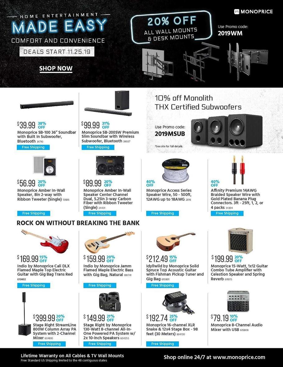 Monoprice Black Friday 2019 Ad Scan