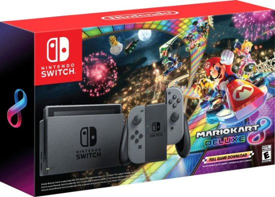 Nintendo - Switch with Mario Kart 8 Deluxe Console Bundle - Gray Joy-Con